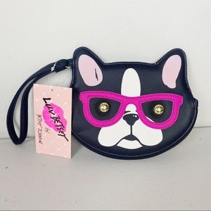 BETSEY JOHNSON Bulldog with glasses coin purse